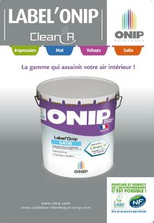 documentation peinture depolluante label'onip clean'R